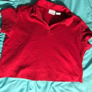Tops - Red polo cropped top